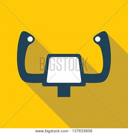 Aircraft steering helm flat icon with long shadow isolated on one-color background. Vector illustration in EPS10 format with transparency.
