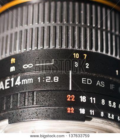 extreme close up of a photocamera wide angle lens