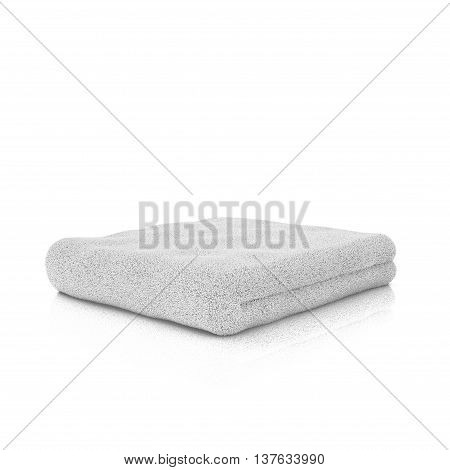 One white folded towel. Gros plan. 3d rendering.