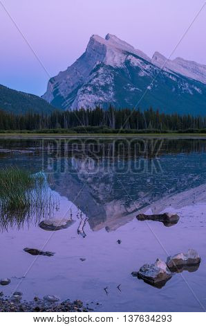 Mt. Rundle at Vermillion Lakes near Banff, Alberta, Canada.