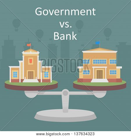 Vector clipart comparison of the authority of government and private bank