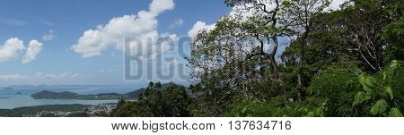 panorama of phuket , thailand , view from monkey hill , tropical island archipelago