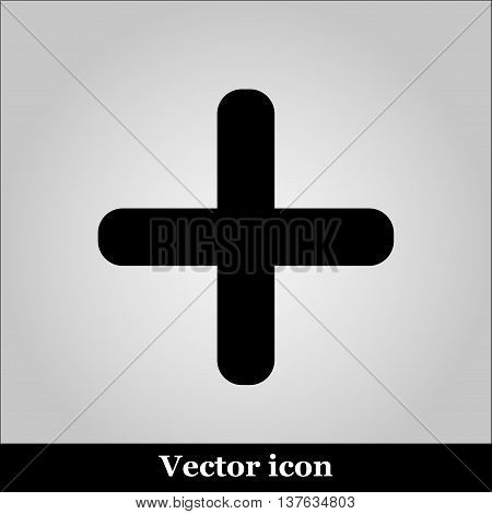 Vector cross icon on grey background, illustration