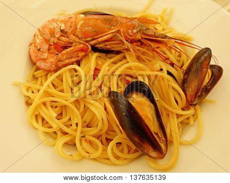 Spaghetti Frutti di Mare at a restaurant in Valletta.