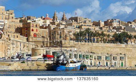 Waterfront in Valletta, the capital of Malta.