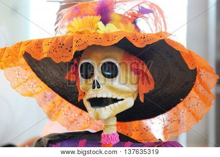 Mexican inspired skull in a hat