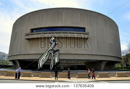 Washington DC - April 11 2014: The Hirshhorn Museum of Art designed by Gordon Bunshaft is jokingly known as the