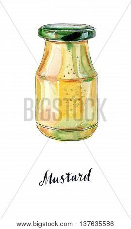 Glass jar of mustard with green lid hand drawn - watercolor Illustration