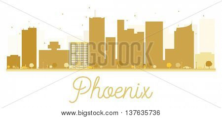 Phoenix City skyline golden silhouette. Simple flat concept for tourism presentation, banner, placard or web site. Business travel concept. Phoenix isolated on white background