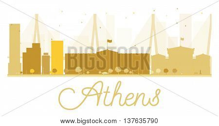 Athens City skyline golden silhouette. Simple flat concept for tourism presentation, banner, placard or web site. Business travel concept. Athens isolated on white background