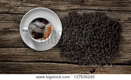 Cup of coffee with smoke and coffee beans on an old wooden table. 3D Rendering