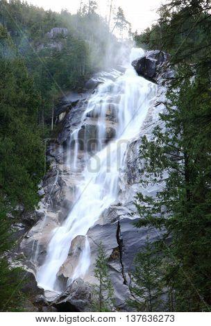 A waterfall in Sea To Sky Gandola
