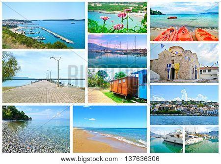 collage of Peloponnese Greece - Pylos, Kalamata, Stoupa, Dimiova church