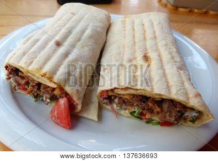 Meat doner in lavash bread in Baku, Azerbaijan.