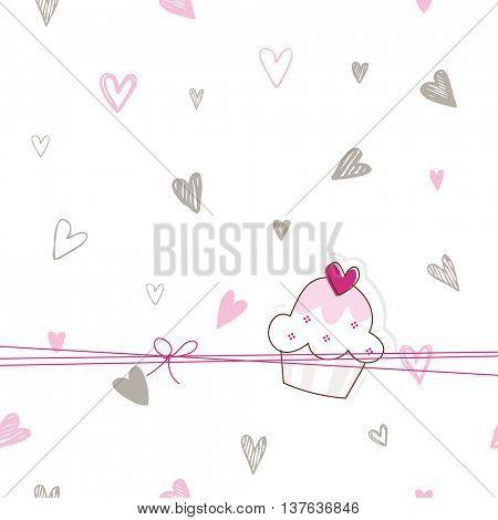 Greeting card with cupcake