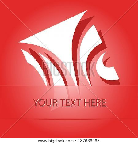 unique abstract forms. Paper red sticker as bookmark. Vector illustration.