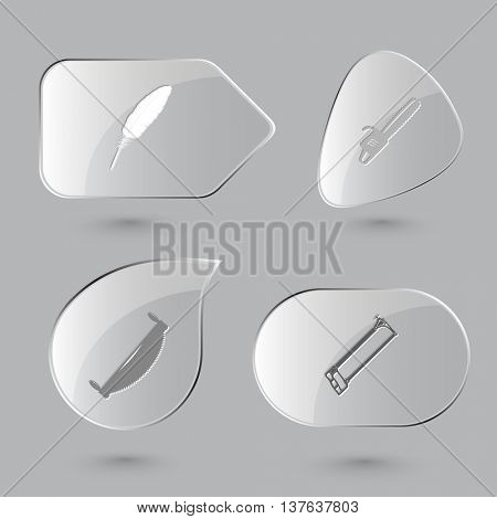 4 images: feather, gasoline-powered saw, two-handled saw, hacksaw. Angularly set. Glass buttons on gray background. Vector icons.