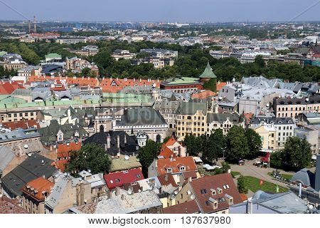 view of Riga from the observation deck of the Church of St. Peter