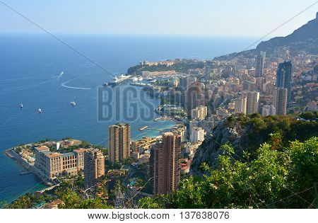 View over Monte Carlo and Monaco principality in summer.
