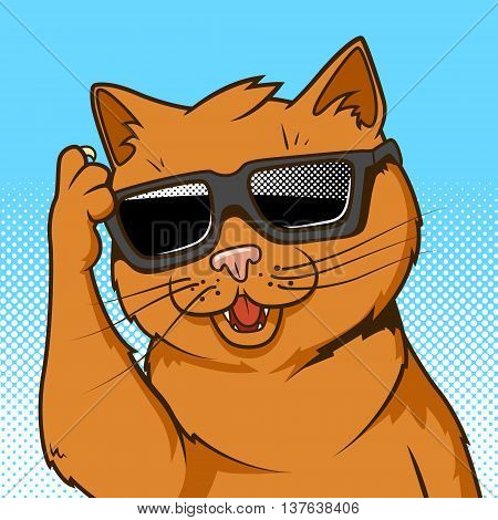 Cartoon ginger cat in sunglasses vector illustration. Comic book style imitation.