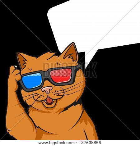 Cartoon ginger cat in 3d movie glasses vector illustration. Comic book style imitation.