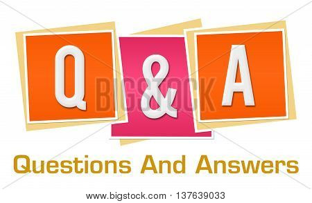 Q and A text alphabets written over pink orange background.