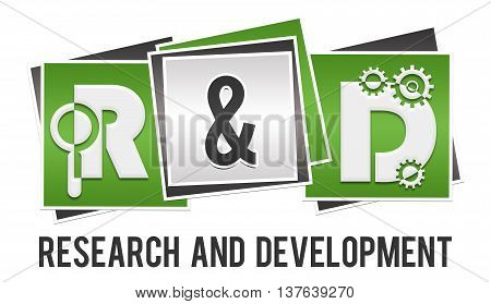 R and D text alphabets written over green grey background.