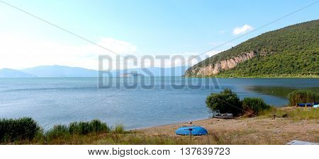 picture of a Lake Prespa Macedonia. View from village of Konsko