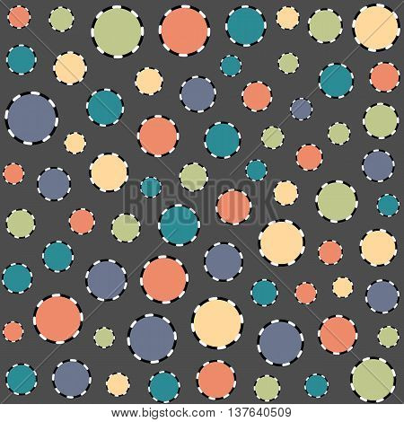 Random Polka Dots Spots Vector Background Recolor Change Colors Orange Blue Turquoise Yellow White Grey Black Spots Funky Fun Illustration EPS Seamless Tiling Pattern