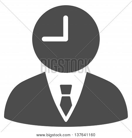 Time Manager vector icon. Style is flat symbol, gray color, rounded angles, white background.