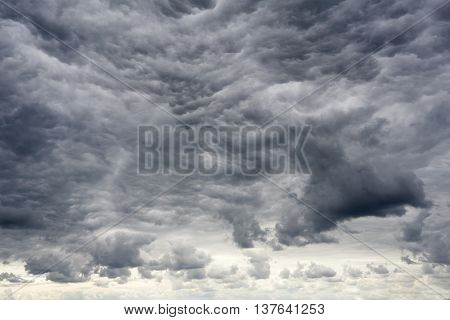 Amazing apocalyptic clouds before a big storm