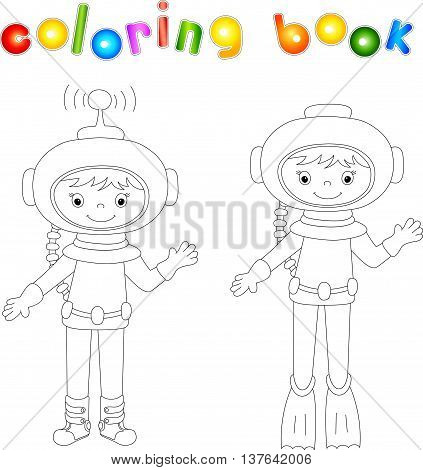 Astronaut And Diver Coloring Book