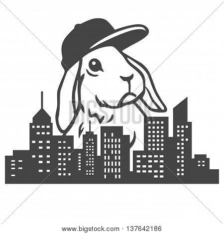 Hip Urban Rabbit Clipart Vector Illustrations Art