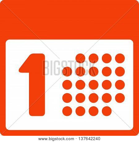 First Date vector icon. Style is flat symbol, orange color, rounded angles, white background.