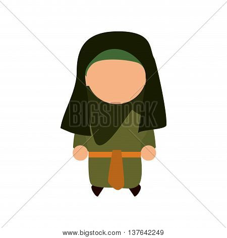 Israel culture concept represented by woman cartoon icon. Isolated and flat illustration