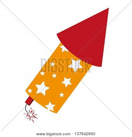 rocket fireworks fire light , isolated vector illustration