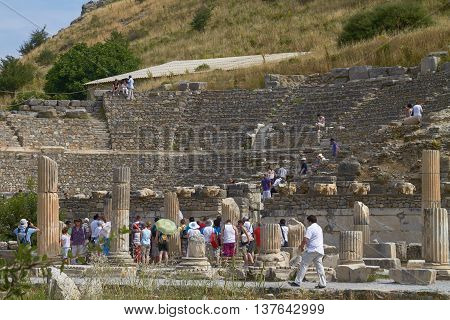 People Visiting And Enjoying Ancient Ruins In Ephesus Turkey