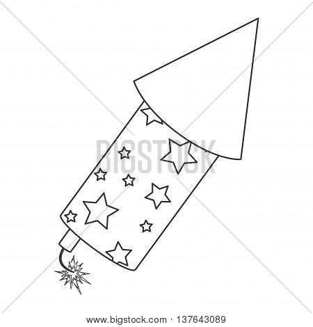 rocket fireworks fire light, line icon , isolated vector illustration