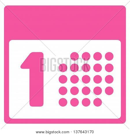 First Day vector icon. Style is flat symbol, pink color, rounded angles, white background.