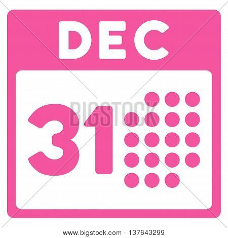 Last Year Day vector icon. Style is flat symbol, pink color, rounded angles, white background.