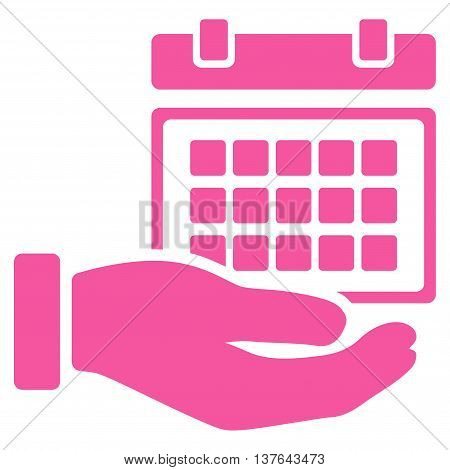Service Timetable vector icon. Style is flat symbol, pink color, rounded angles, white background.