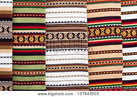 multicolored striped wool carpets on the market