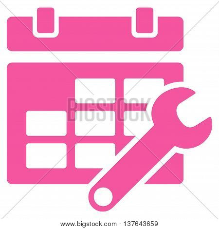 Timetable Configuration vector icon. Style is flat symbol, pink color, rounded angles, white background.