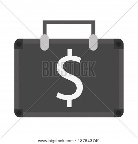 suitcase bag money business symbol , isolated vector illustration