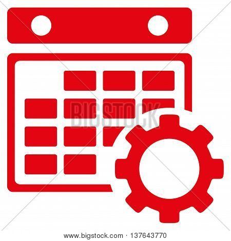 Organizer Setup vector icon. Style is flat symbol, red color, rounded angles, white background.