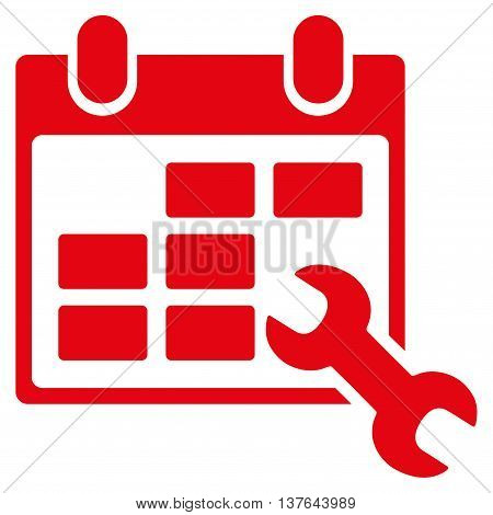 Configure Timetable vector icon. Style is flat symbol, red color, rounded angles, white background.