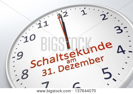 3d rendering of a clock showing leap second at december 31 in german language