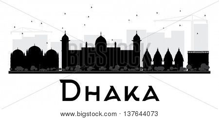 Dhaka City skyline black and white silhouette. Vector illustration. Simple flat concept for tourism presentation, banner, placard or web site. Business travel concept. Cityscape with landmarks