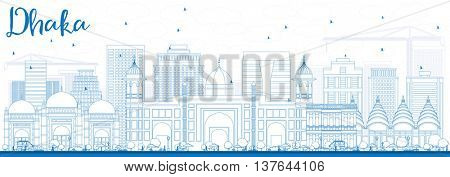 Outline Dhaka Skyline with Blue Buildings. Vector Illustration. Business Travel and Tourism Concept with Historic Buildings. Image for Presentation Banner Placard and Web Site.