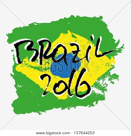 Print with lettering about Rio de Janeiro and green yellow blue paint splashes in shape of brazilian flag on grey backdrop. Pattern for fabric textiles clothing shirts t-shirts. Vector illustration